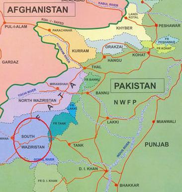 Sud-Waziristan. Carte Wikipedia