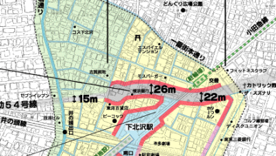 Planned route through Shimokitazawa (Urban Plan Subsidiary Route 54)