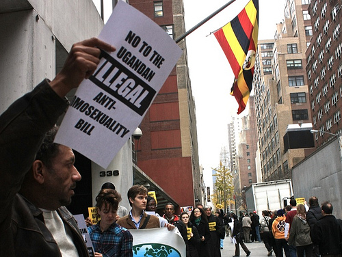 Activists gathered outside the Ugandan Mission to the United Nations in New York City in November to protest the bill.  Photo courtesy of riekhavoc on Flickr.