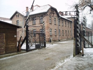 Auschwitz concentration camp gate in 2005 by Tbertor1 on Flickr