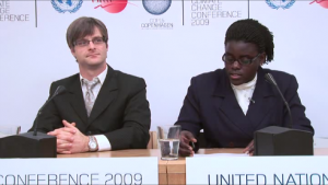 Ugandan delegate makes statement at COP15 press briefing
