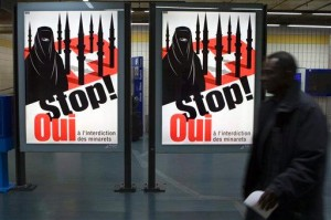 A poster by the Swiss SVP calling for a ban of minarets