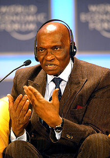 President Wade, pictured here at the 2002 World Economic Forum, wants to grant Haitian earthquake survivors free land in Senegal (image source: Wikipedia)
