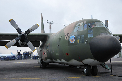 Hercules C-130  from the Ecuadorian Air Force  ready to take off to Haiti - Photo by Miguel Romero and used under Creative Commons license