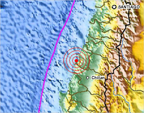 A map showing the location of the earthquake off the coast of Chile from the U.S. Geological Survey (via The Lede on NY Times)