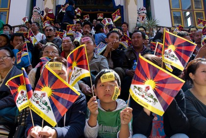 Tibetan Protest in kathmandu. Image by Flickr user Buddha's Breakfast. Used under a Creative Commons License
