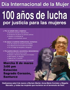 Flyer announcing March 8 activities in Puerto Rico.