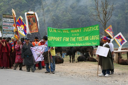 Protest in Pokhara before summer olympics in Beijing. Image by Flickr user Tboothhk. Used under a Creative Commons License