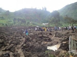 Landslides in eastern Uganda on Monday left three villages covered in mud. Photo courtesy of Apollo on Facebook.