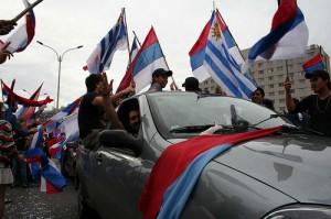 Mujica y partidarios del Frente Amplio celebrando la elección el 29 de noviembre de 2009. Foto del usuario de flickr camerareporter y usada con licencia de Creative Commons.