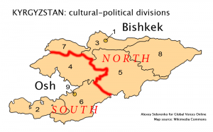 Kyrgyzstan cultural-political divisions, map source: Wikimedia