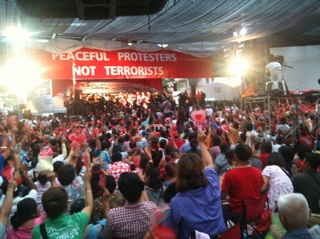 """Peaceful protesters, not terrorists."" Twitpic by bretonbkk"