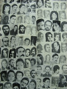 patchwork of black and white portraits of disappeared people
