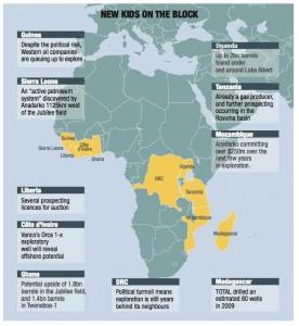 Mappa del petrolio africano