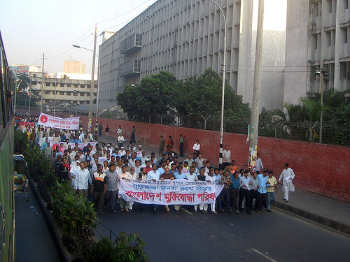 Protests in Dhaka. Image from Flickr by Vipez. CC BY-NC-ND