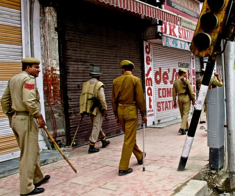 The Police patrol the streets of Srinagar, Kashmir, on the lookout for protesters and separatist troublemakers.