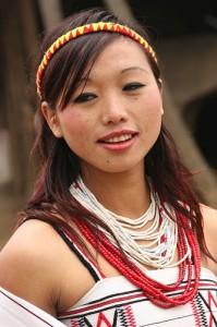 Yimchunger Naga woman at the morung of Kutur village
