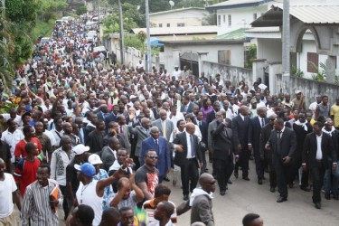 André Mba Obame and his supporters marching in Gabonese capital Libreville. Image by Jean-Pierre Rougou.