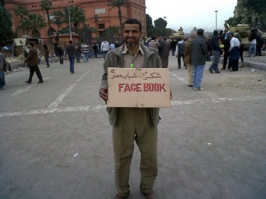 A man thanks Facebook and the Egyptian youth