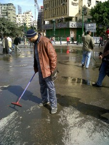 People spend a good while of their day cleaning the square
