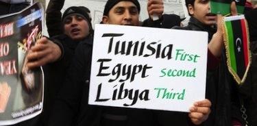 在倫敦利比亞大使館前抗議,照片來自Mario Mitsis,版權為Demotix所有 (17/02/2011).