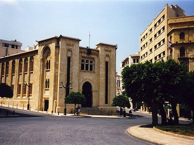 The Lebanese parliament building in downtown Beirut. Image by Flickr user nathanm (CC BY-NC-SA 2.0).