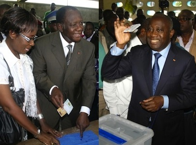Two men lay claim to the Ivorian Presidency. Left, Alassane Ouattara, right: Laurent Gbagbo. Both images by Stefan Meisel, copyright Demotix (28/11/10).