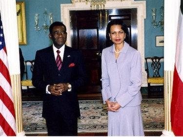 President Obiang and former US Secretary of State Condoleeza Rice. Image from US State Department, in public domain.