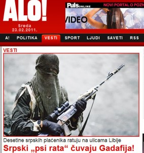 Serbian daily 'Alo' carries an image of Serbian mercenaries in Libya.