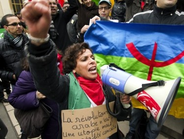 Protesters gathered in solidarity with Moroccan people in Paris, France. Photo by sebastien rabany, copyright Demotix (20/02/2011).