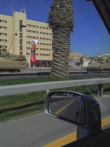 Army Vehicles heading south out of the capital Manama