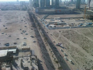 Aerial view of protesting marching from Dana Mall towards Lulu Roundabout (courtesy of @lailaalbeiti)