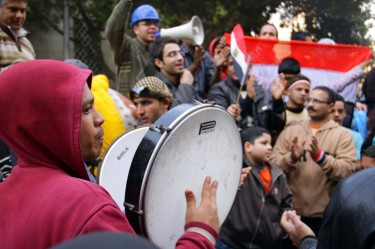 Protesting to the beat of a drum on Tahrir Square, Cairo