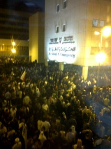 Protesters numbers swelling in front of the Salmaniya Hospital A&E entrance