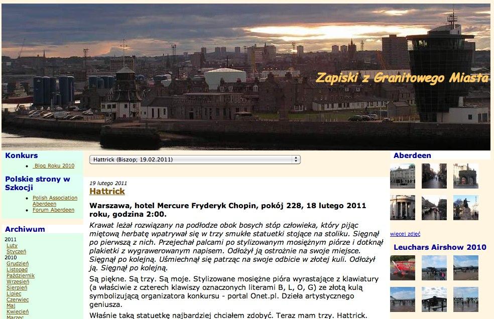 screenshot del blog Zapiski z Granitowego Miasta
