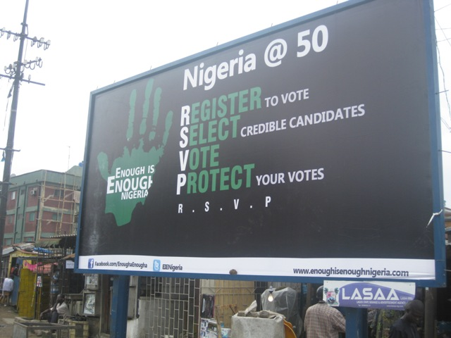 An EiE Nigeria billboard in Lagos Nigeria