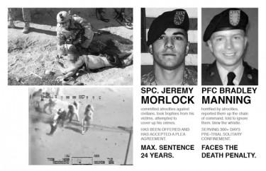 Bradley Manning vs. Jeremey Morlock. Image by Twitpic user @hegemonik.
