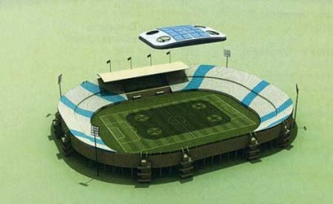 "Qatar University's ""artificial cloud"" stadium. Image from Qatar University."