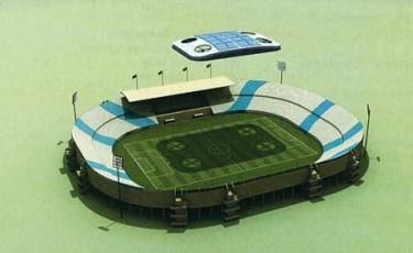 "Qatar University's ""artificial cloud"" stadium. Image from Qatar University."