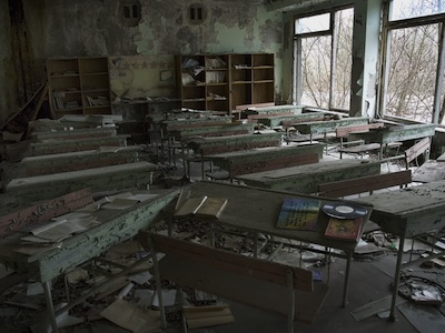Abandoned schoolroom near Chernobyl. Image by Vlad Sokhin, copyright Demotix (04/04/08).