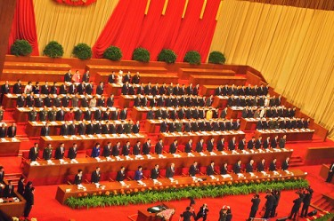 China's rulers in the Great Hall of the People at the beginning of the National People's Congress 2011 in Beijing, China. Image by Flickr user Remko Tanis (CC BY-NC-SA 2.0).
