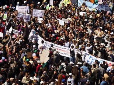 Young Moroccans continue to protest for democracy, Rabat, Morocco. Image by Zacarias Garcia, copyright Demotix (20/03/11).