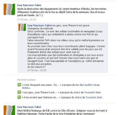 les gras, avec l'heure ki est grave changeons de methode Info confirmes. Ce sont des soldats burkinabes et senegalais (corps d'assaillants tues) qui combattent a abobo contre nos FDS et qui saccagent tout faites remonter l'info dans nos millie..ux pour qu'on mette la pression sur leurs ressortissants. Au prochains mort chez nous leurs ressortissants plient bagages. Comme quand l'ecomog etait annonce doit etre valable pour les pays qui ont finalement donne des soldats pour venir tuer ici. Ces inacceptables que des burkinabes et senegalais a qui nous avons gites et couverts et qui font fortune chez nous tuent nos gars et sacagent tout. c'est innaceptable et n'acceptons ca. Cette entreprise ne doit plus prosperer. Au les coeurs