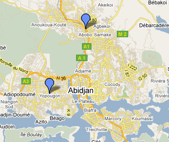 Map of Abidjan showing Abobo and Yopougon