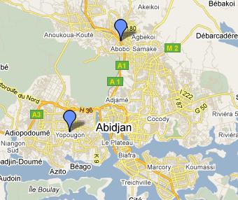 Map of Abidjan showing Abobo and Yopougon