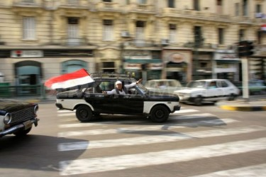 Egypt: Taxi Driver Celebrating with Egyptian Flag