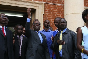 Zambian politician, Patriotic Front's Michael Sata, arrives at the Supreme Court in a bid to recount the 2008 presidential election. Image by Harrison Tuntu, copyright Demotix (17/02/09).