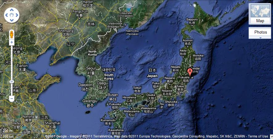 Google Earth Image of Japan and Korea. Fukushima's power plant is marked as 'A'.