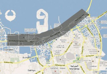 The Curfew area spans from Seef Area to the Shaikh Isa Bridge to Muharraq