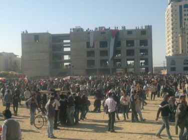 Gaza revolts 2011, day 2! Youth moved 2 al katiba! Posted by Twitpic user Omar_Gaza.